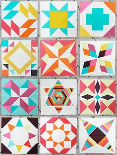 farmer's wife quilt blocks by faith of freshlemonsquilts.com - love this done in all solids and love the color scheme.
