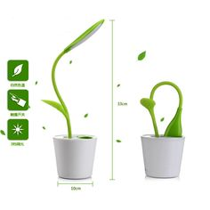 60pcs/lot Rechargeable Eye Protection Sapling Pen-holder LED Table Lamp Flexible Reading Desk Lamp Bedside Luminaria Night Light