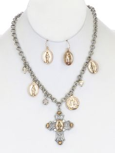 Necklace And Earring Set Two Tone Metal Cross Pendant Charm Saint Textured Crystal Stone Pearl Double Link Rolo Chain Fish Hook 18 Inch Long 2 1/4 Inch Drop