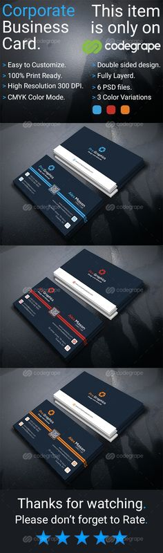 This corporate business card download contains high resolution 300 DPI, Fully layerd PSD files, CMYK color mode & 100% print ready format. The corporate business card is very easy to...