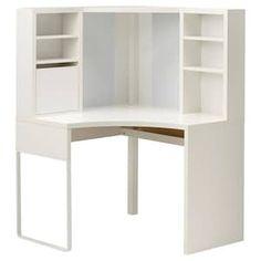 MICKE Corner workstation - white - IKEA and add micke desk on side(s) for L shape-- not sure why it looks a little off white? Corner Workstation, Ikea Computer Desk, Ikea, Furniture, Drawer Unit, Home, Shelves, Ikea Micke, Corner Desk