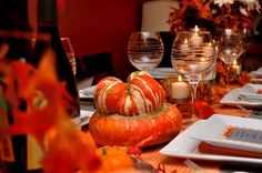 Harvest table at a Thanksgiving party! See more party planning ideas at CatchMyParty.com!