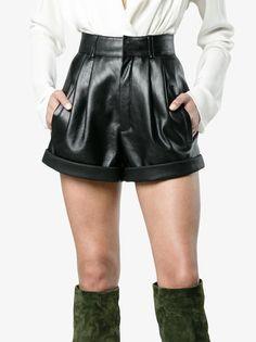 Saint Laurent high waisted leather shorts