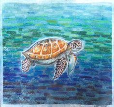 Original Sea Turtle Pastel Painting affordable by HartungDesignsCo