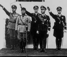 Mussolini with Daluege, Heydrich, Himmler and Wolff.