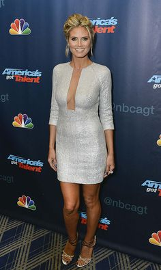 Heidi glittered at the America's Got Talent post-show red carpet in a Kaufmanfranco dress.