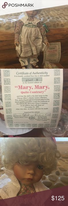 China doll China Doll mother Goose collection number 2525 limited-editionclosed in 1991  Dianna Effnet is the Artist new inbox certificate included would make a great gift or add to your collection Other