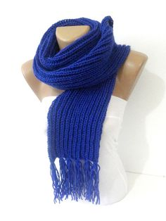 Knitting blue scarfcowlknit scarfknitted women men by seno on Etsy, $30.00