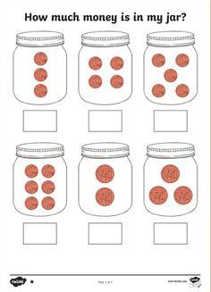 How Much Money Is in My Jar? Fun Math Worksheets, Money Worksheets, Math Resources, Coloring Worksheets, Alphabet Worksheets, Money Activities, Eyfs Activities, Money Games Ks1, Money Games For Kids