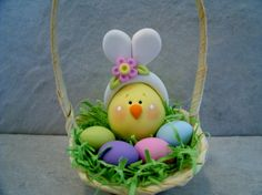Chick Bunny Ears Eggs Easter Basket von countrycupboardclay