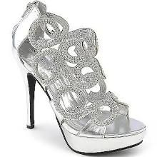 Marichi Mani Womens Lavena-02 Silver Evening Shoes