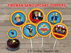 Fireman Sam Cupcake Toppers Fireman Sam Party by Printerama