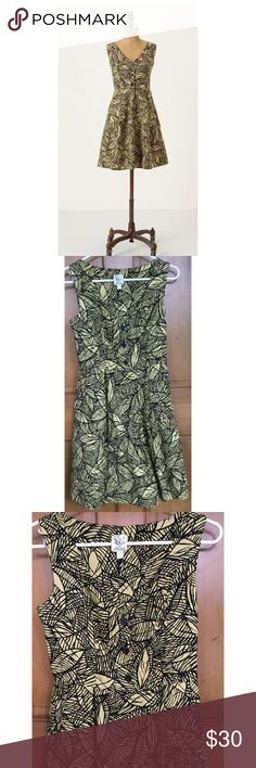 "Weston Wear Anthropologie Leaves Dress 2 🌺SALE🌺 Weston Wear Anthropologie Emerging Leaves Dress, sz 2. Side pockets, cotton & lined, side zip. Laying flat measures approximately: shoulder to bottom 34"", armpit to armpit 15"", waist 12 1/2"". Nice overall condition and smoke free home. Thanks!! Anthropologie Dresses"