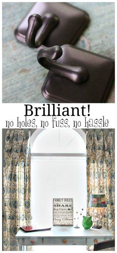 How to hang curtains without using a curtain rod. An easy, no fuss, no hassle, no holes, stress free curtain job.