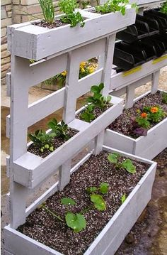 If you are looking for Diy Projects Pallet Garden Design Ideas, You come to the right place. Here are the Diy Projects Pallet Garden Design Ideas. Container Herb Garden, Garden Planters, Outdoor Planters, Wood Pallet Planters, Pallet Garden Walls, Pallet Potting Bench, Greenhouse Plants, Backyard Greenhouse, Pallet Fence