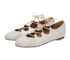 Carousel White Italian lace up ballet flats