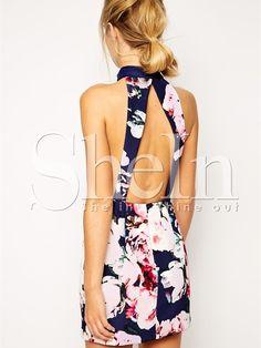 Blue Halter Backless Floral Print Dress 18.98