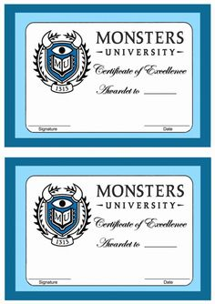 Monsters University Printable Awards Click image below to enlarge and print