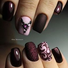 Beautiful nail art designs that are just too cute to resist. It's time to try out something new with your nail art. Fabulous Nails, Gorgeous Nails, Pretty Nails, Nagel Hacks, Fall Nail Art Designs, Burgundy Nails, Burgundy Nail Designs, Purple Nail, Matte Pink