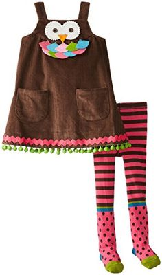 Mud Pie Little Girls' Owl Jumper with Tights, Brown, - set. Brown corduroy jumper features owl face applique with layered felt detail and comes with multi-patterned printed cotton tights. Fall Wedding Outfits, Fall Outfits For Work, Casual Fall Outfits, Fall Winter Outfits, Everyday Dresses, Everyday Outfits, Toddler Outfits, Girl Outfits, Outfits 2014