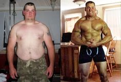 Clayton Burkhart set aside heavy drinking and overeating and focused his life on muscle building. In a few short years he lost over 100 pounds and packed on some serious muscle! Weight Loss Transformation Bodybuilding Health Fitness Fat Loss Muscle Gain Toned Inspiration Exercise