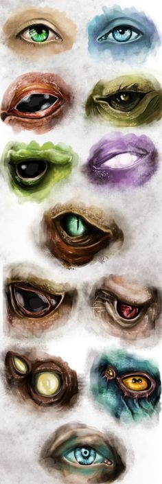 Sketch of eyes: Human. Asari, Salarian, Turian, Drell, Quarian, Krogan, Batarian, Vorcha, Collector, Prothean, Illusive man Mass Effect