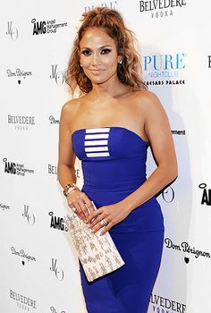 """Jennifer Lopez in a cobalt blue dress from the Spring/Summer 2012 EDITION collection by Georges Chakra and Christian Louboutin """"Lady Peep"""" open-toe platforms"""