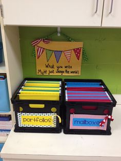 Going do use this idea for students individual documents, testing, progress monitoring, etc. also Great Classroom organization ideas, Love the idea of having individual portfolio folders for students to keep papers in from throughout the year. 5th Grade Classroom, Classroom Setting, Classroom Setup, Kindergarten Classroom, Future Classroom, School Classroom, Classroom Design, Classroom Libraries, Classroom Organisation