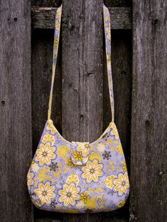 Handmade Purse with Long Shoulder Strap - Yellow & Grey Floral. $20.00, via Etsy.
