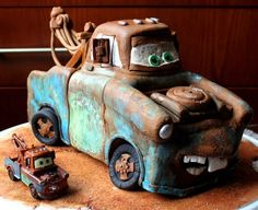 Tow Mater birthday cake - So awesome! Found on Cake Central. Disney Cars Cake, Disney Cakes, Cupcakes, Cupcake Cakes, Boy Birthday, Birthday Parties, Birthday Cakes, Birthday Ideas, Fondant