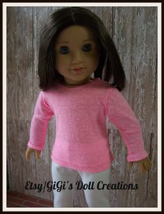 American Girl Doll Clothing  Pink shirt and by GiGisDollCreations