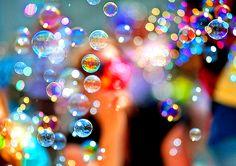 Every bubble holds an idea. Spend an hour blowing bubbles. It's part of our job description! Blowing Bubbles, My Bubbles, Rainbow Bubbles, Soap Bubbles, Colored Bubbles, Photo Bubbles, Super Bubbles, Bokeh, Bubble Fun