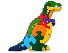 Dinosaur jigsaw that is a fun way to learn your numbers while teaching dexterity and logic.  From age 2 upwards. Best Jigsaw, 4 Year Old Boy, Woodworking Jigsaw, Wooden Jigsaw Puzzles, Kids Jigsaw, Scroll Saw Patterns, Puzzles For Kids, Wood Toys, T Rex