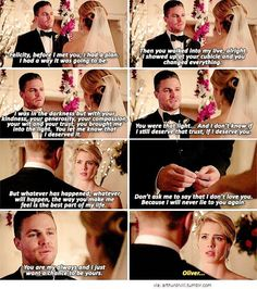 "Olicity ""fake"" wedding vows Arrow         My one wish for season 5: that Oliver and felicity will actually get married and that their relationship will be steady even with the job they do, because they belong together forever #Olicity"