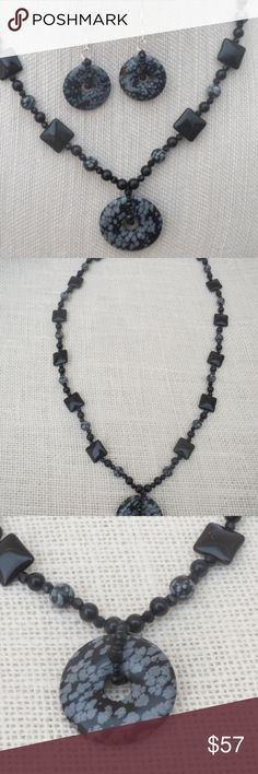Handmade Snowflake Obsidian Donut Necklace Set I designed this 28.5 inch cute necklace with a 1.75 inch Snowflake Obsidian donut bead (hole in the middle) with round snowflake obsidian beads and square pillow Onyx beads, black Obsidian round beads and black faceted glass round beads. The bails on the necklace and earrings were created with the black faceted glass round beads and small black seed beads. The gemstone necklace was finished with a twisted sterling silver toggle clasp.  The 1.75…