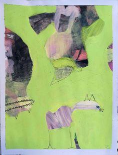 Stefanie Schairer: Juchu und Dollerei IV. Acrylfarbe, Linemarker, Buntstift auf Aquarellpapier #Freude #Experimentieren #Katze #Abstraktion #grün #JuxDollerei #fraublume #stefanieschairer #startyourart #Malerei www.startyourart.de