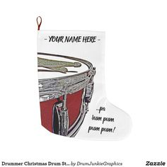Drummer Christmas Drum Stocking Drummer Boy Xmas