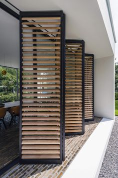 Outdoor Shutters, Canopy Outdoor, Bbq Canopy, Outdoor Awnings, Sliding Panels, Facade House, Backyard Patio, Architecture Design, Design Architect