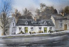 The Weaver's Cottages by Roland Byrne Cottage, Mansions, Wall Art, House Styles, Painting, Home, Manor Houses, Cottages, Villas