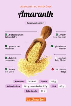 You should know that about Amaranth - kochen - Nutrition Nutrition Tips, Healthy Nutrition, Healthy Life, Healthy Eating, Health Tips, Healthy Recipes, Healthy Protein, Proper Nutrition, Nutrition Tracker