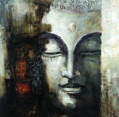 Seekland+Art+Contemporary+Canvas+Art+Large+Handmade+Abstract+Buddha+Face+Oil+Painting+Modern+Wall+Deco+Artwork+Unframe+48″W+x+48″H