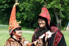 couple in historical Scythian costumes.