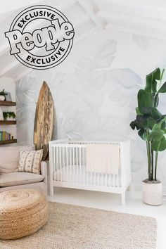 See Lauren Conrad's 'Calm' Nursery for Baby Charlie, Complete with Décor by The Little Market Beach Theme Nursery, Surf Nursery, Coastal Nursery, Tropical Nursery, Surf Room, Nursery Neutral, Nursery Themes, Nursery Room, Calming Nursery