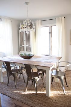 Farmhouse dining room with Rugs USA's Maui Chunky Loop Jute!