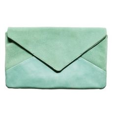 Mint Green Envelope Clutch by LOVEMILY
