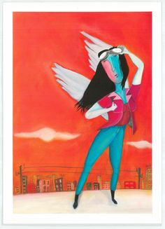 Alcem el Vol,  Óleo sobre papel. Cartel para el día de la Dona. 2014