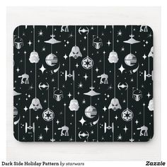 Dark Side Holiday Pattern Mouse Pad Silver Ornaments, Hanging Ornaments, Star Wars Christmas, Christmas Holidays, Darth Vader Death, Empire Logo, Star Wars Store, At At Walker, Star Destroyer