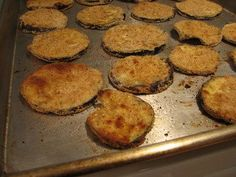 trying this tonight =) baked eggplant... supposed to make them crispy instead of soggy =)