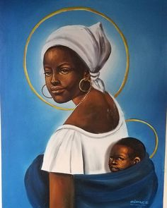Our Lady of the Refugees. A friend​ on Instagram​ noticed this painting in a photo of my office and asked about it. It was given to me by Didace Kamagunga, a Rwandese refugee whom we supported at the Jesuit Refugee Service in Nairobi, Kenya. In Nairobi, JRS sponsors income-generating projects that help refugees support themselves and their families. Didace's own work was as an artist, and we sold many of his beautiful paintings in the Mikono Centre, our shop for refugee handicrafts. Didace…