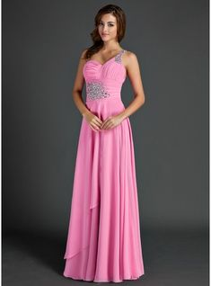 A-Line/Princess One-Shoulder Floor-Length Chiffon Holiday Dress With Ruffle Beading
